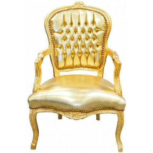 CHAIRS FRANCE BAROQUE STYLE LADY CHAIR WITH ARMRESTS GOLD #55F3